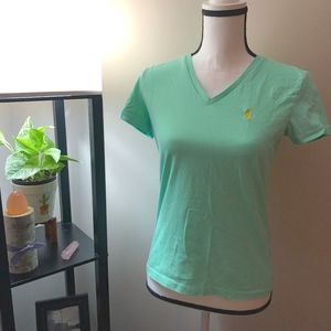 Ralph Lauren Yellow Logo Teal V-Neck T-Shirt - M